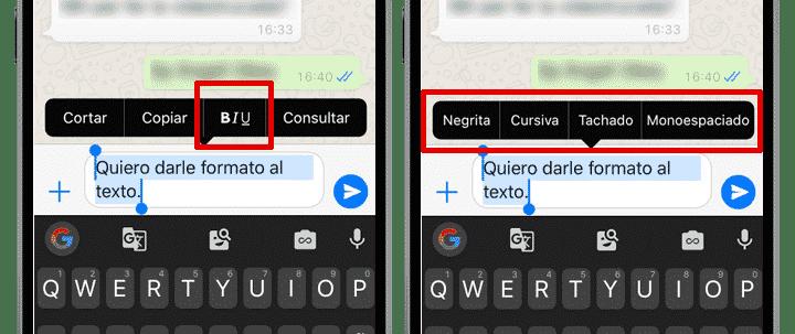 formato texto iphone
