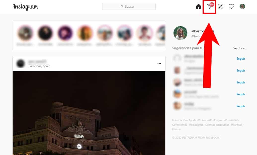 instagram direct en la web para ordenador