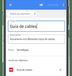 configurar material en google classroom