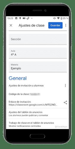 codigo google classroom