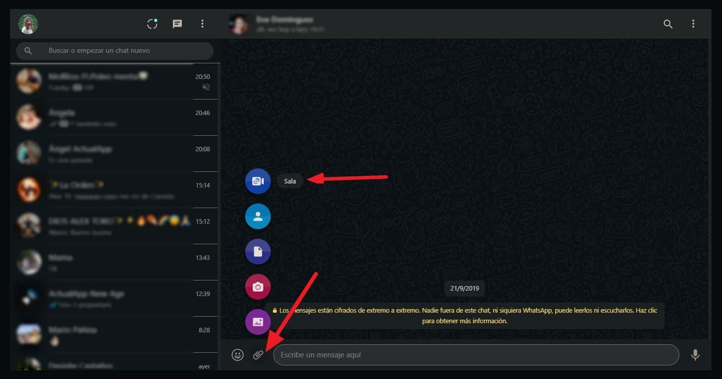 videollamada whatsapp web