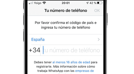 Introducir número de teléfono para registrarse en WhatsApp de iPhone
