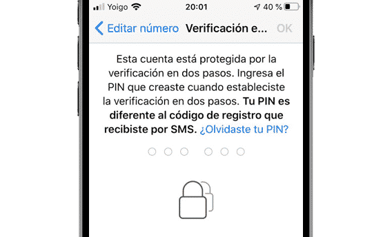 Verificación en dos pasos en WhatsApp en iPhone