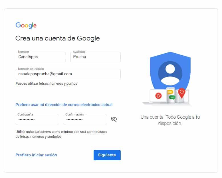 crear cuenta web google
