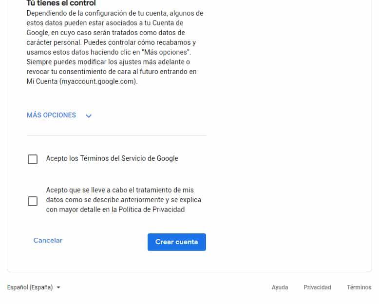 terminos y condiciones cuenta google