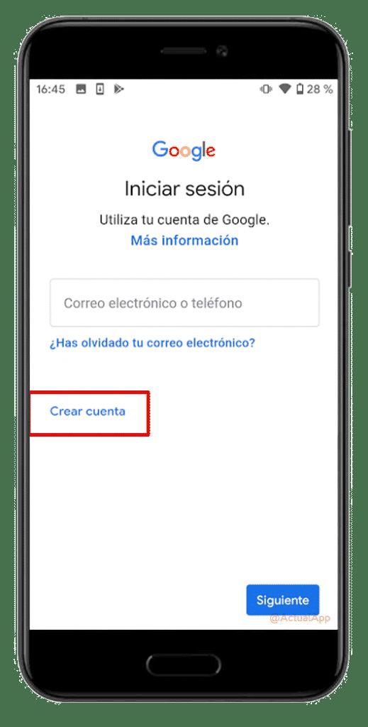 crear cuenta móvil google
